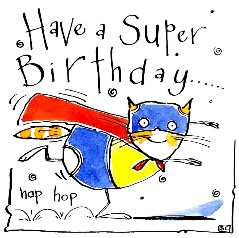 Child's Birthday card with cartoon cat in Superman costume with caption Hav