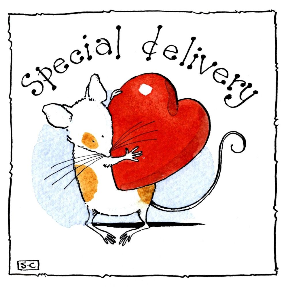 Romantic card with cartoon mouse carrying a heart caption: A Special Delive