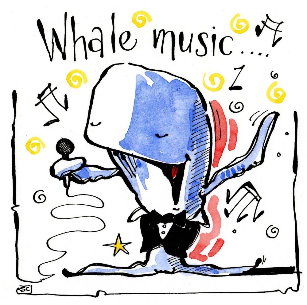 Greeting card with cartoon Whale singing. With the caption Whale Music