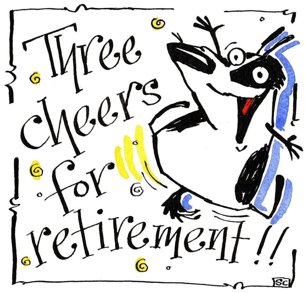 Retirement card with black & white dog singing Three Cheers For Retirement