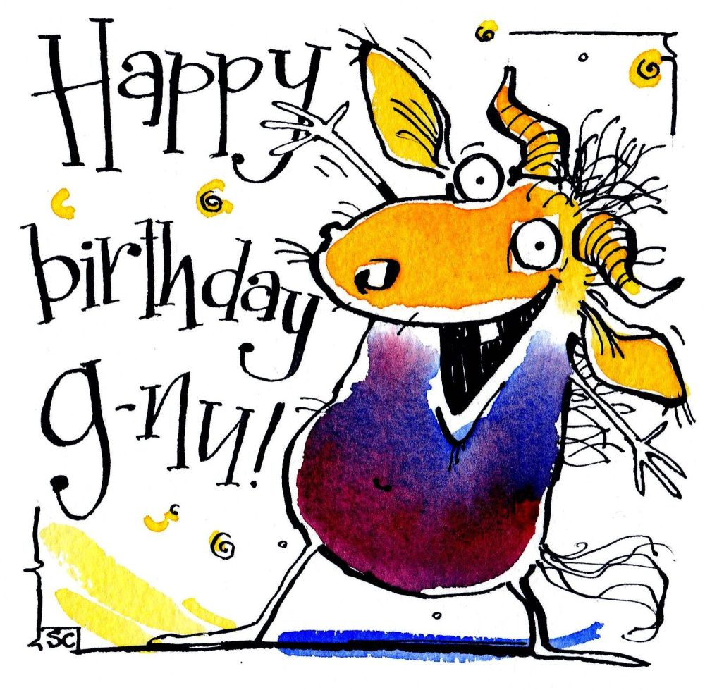 Birthday Card with cartoon Gnu.  Caption says Happy Birthday Gnu
