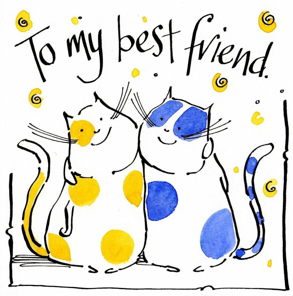 Greeting Card showing two cartoon hugging cats . Caption is To My Best Frie