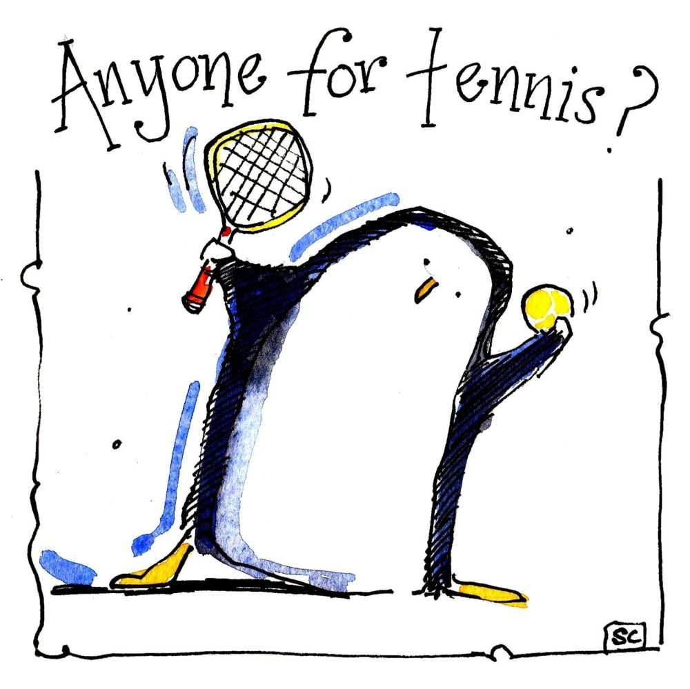 Greeting Card with cartoon penguin with tennis racket & ball. Caption reads
