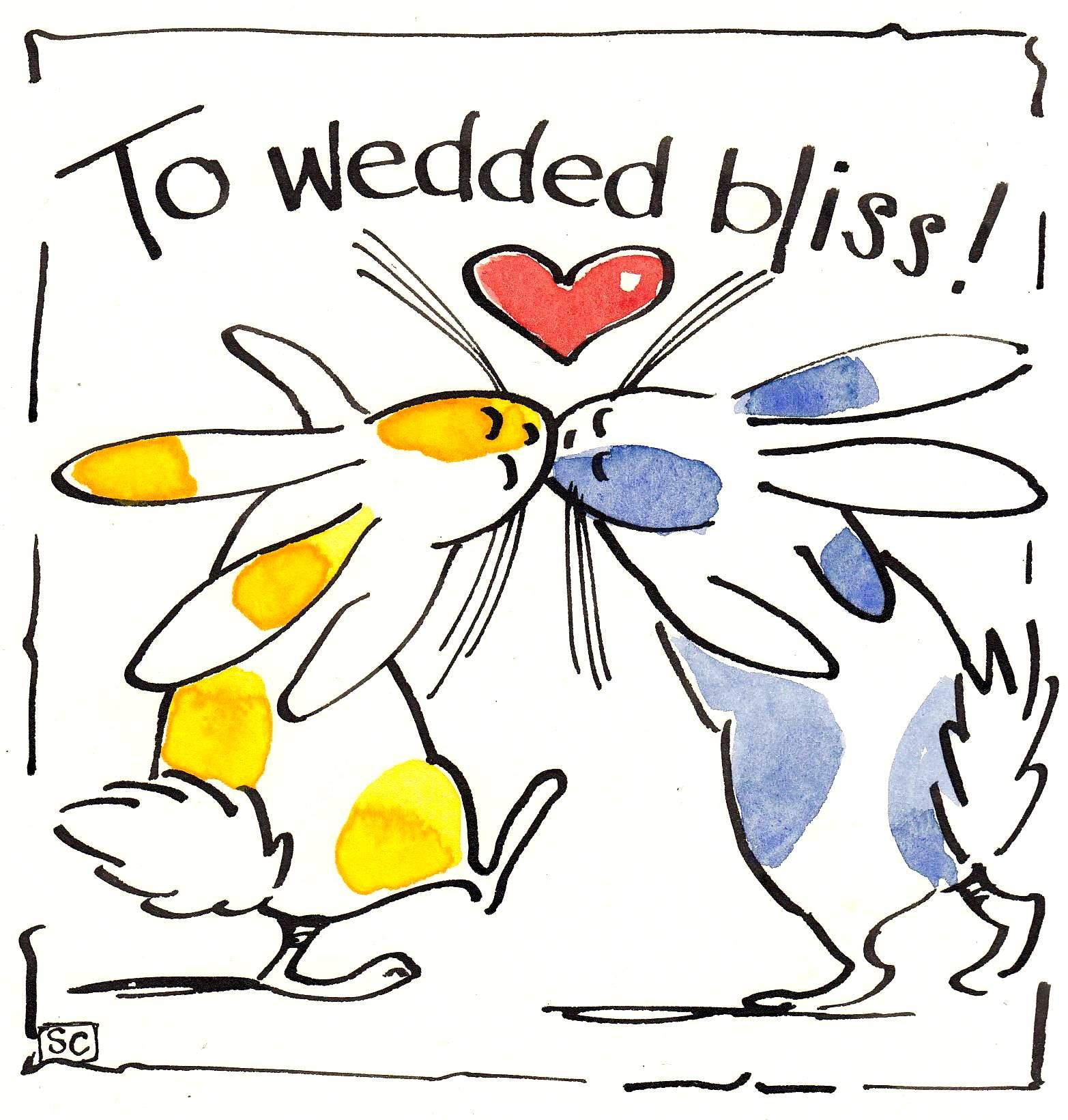 Wedding and Anniversary card with cartoon rabbits and heart with caption To Wedded Bliss