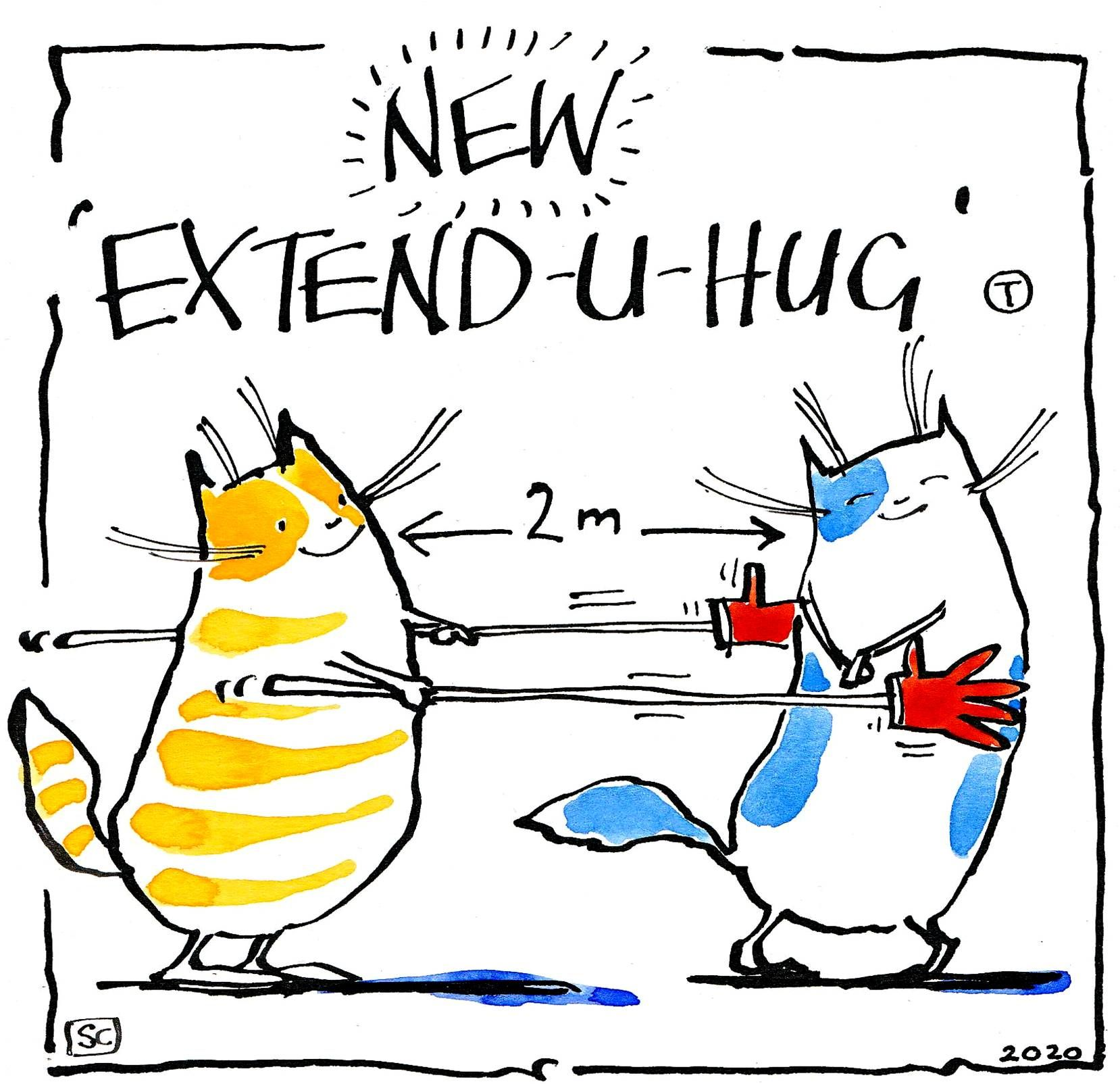 Funny cartoon cat card. Two cats caption New Extend -U- Hug