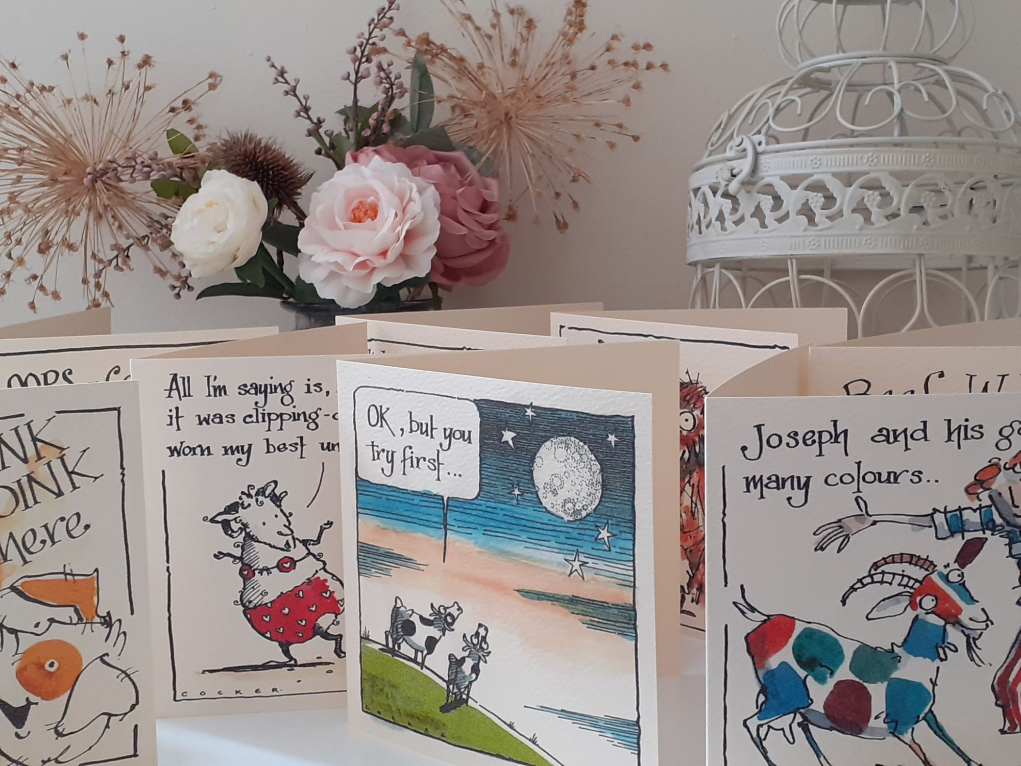 a selection of funny farm animal related catroon cards.