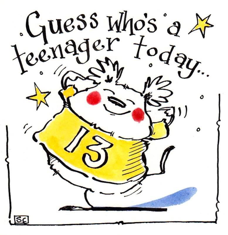 Birthday card for 13 year old cartoon teddy bear Caption Guess Who's 13