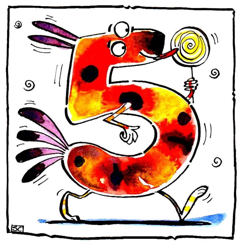 5th Birthday card fantasy no. 5 animal with lolly
