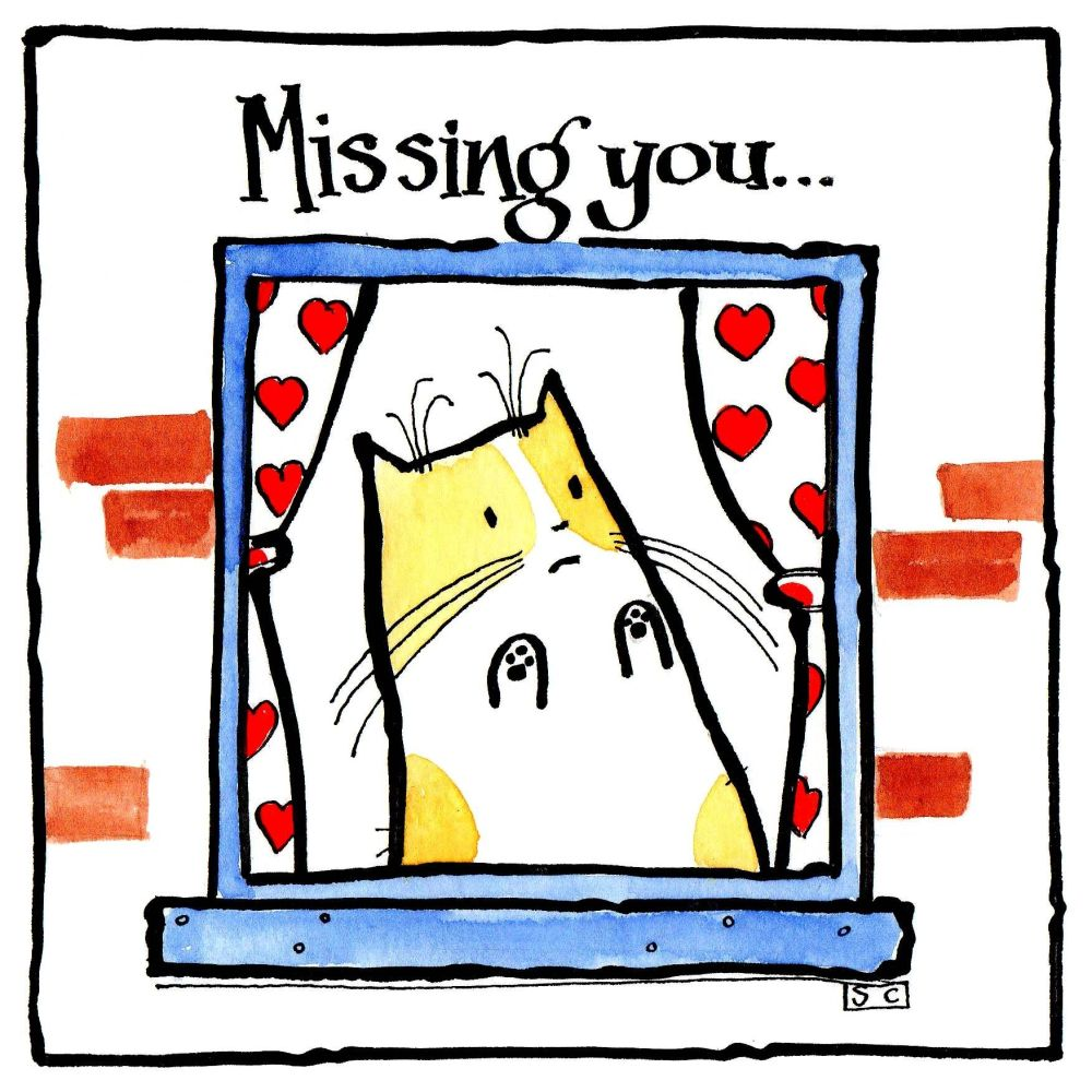 Missing You greeting card with cartoon cat at the window. Caption Missing Y