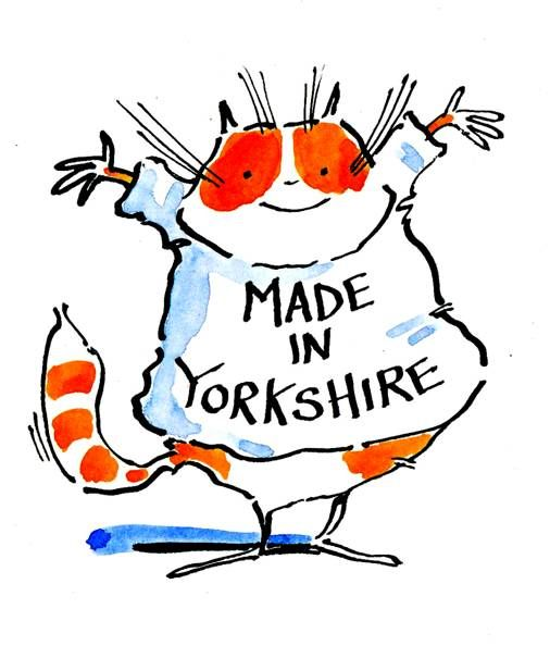 Logo cartoon cat in teeshirt with caption Made In Yorkshire