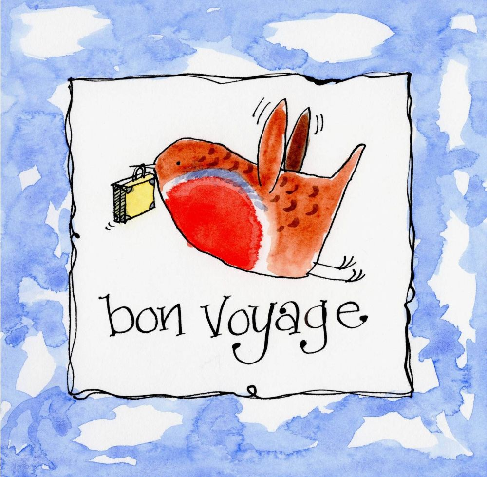 Bon voyage card with robin carrying suitcase with caption bon voyage