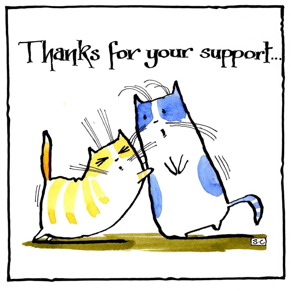 Thanks For Your Support caption on thank you card with two cartoon cats.