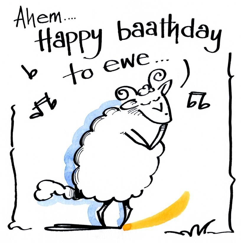 Birthday card with caption - Happy Baathday To Ewe