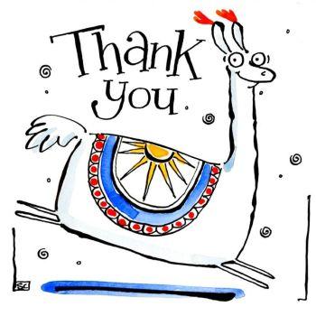 Llama Thank You Card