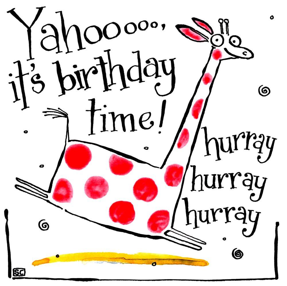 Birthday card with cartoon giraffe with caption Yahoooit's birthday time hu