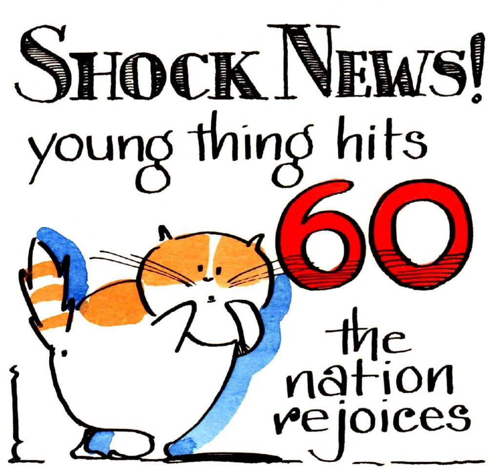 Milestone Birthday card with cat 'Shock News young thing hits 60'