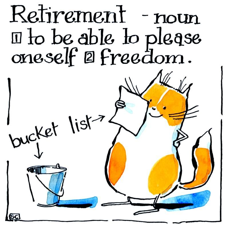 Retirement card with cat with Bucket List