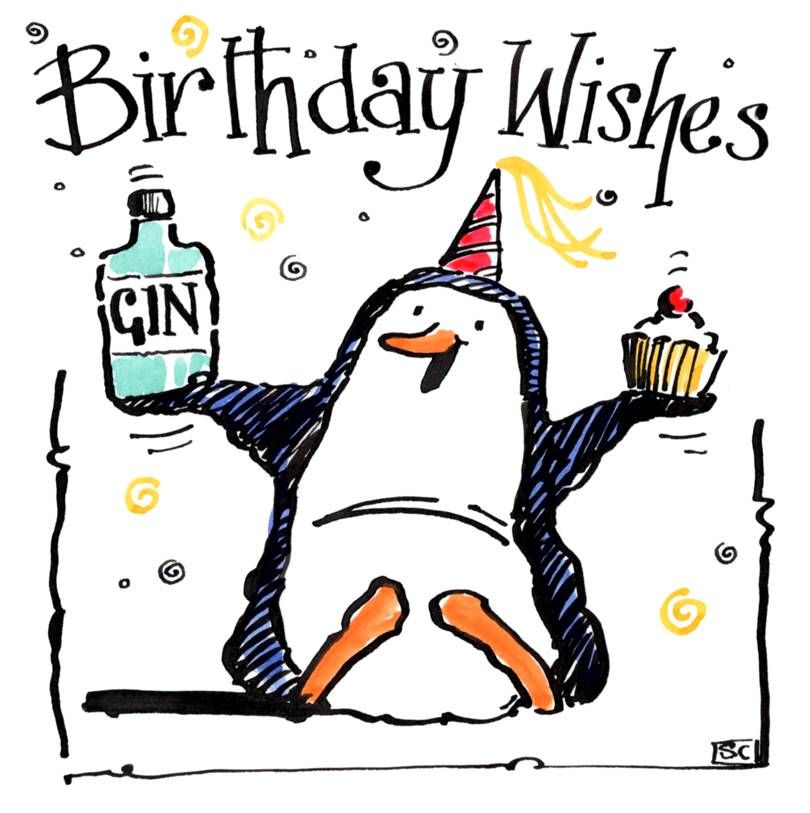 Birthday Card with Penguin holding gin and cake. Caption: Birthday Wishes