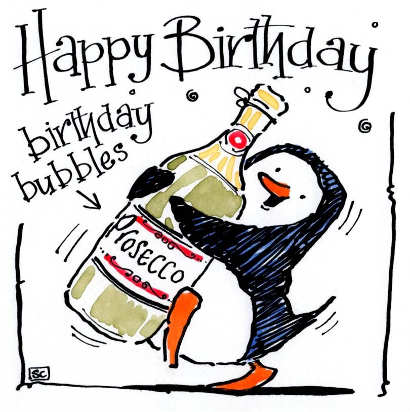 Birthday card with cartoon penguin carrying bottle of Prosecco with caption