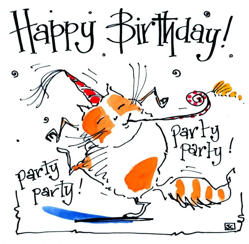 Cat Birthday card Cartoom cat with Birthday hat and caption: Happy Birthday