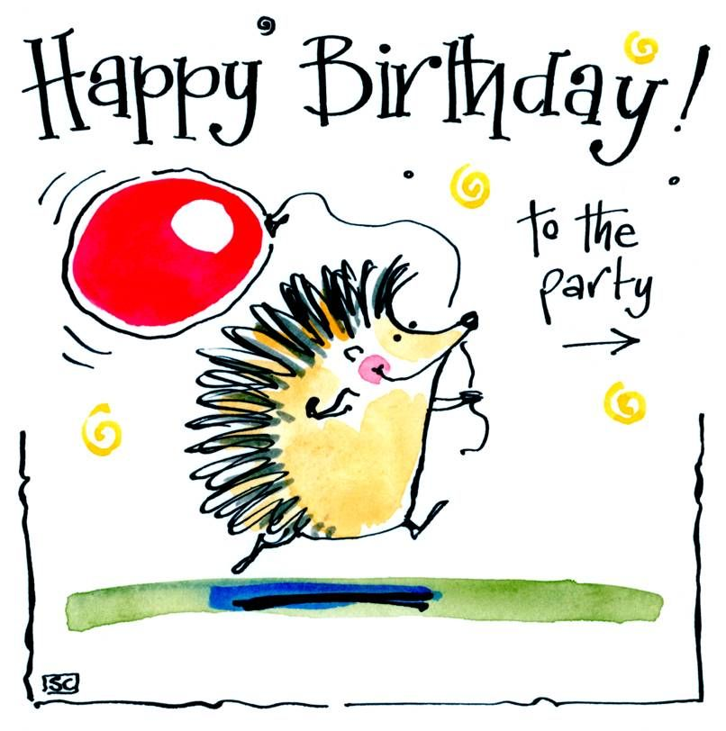 Happy Birthday card with cartoon Hedgehog and balloon with caption: Happy B
