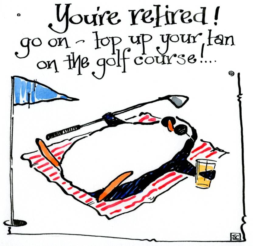 Retirement card with cartoon penguin  lying on beach towel with golf club i