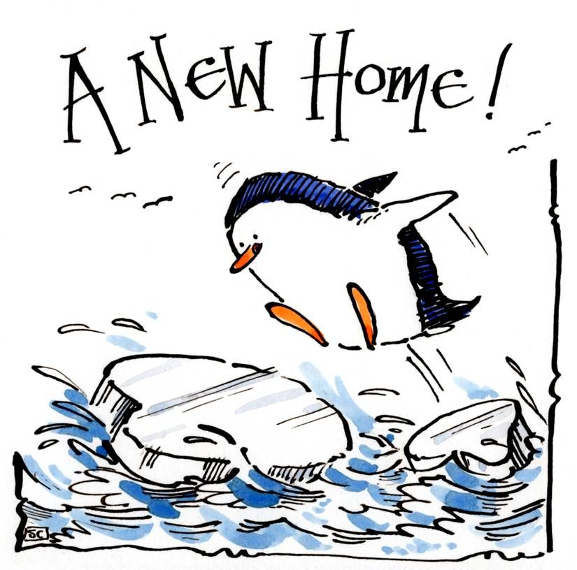 A Cool New Home Card with cartoon penguin and ice floe