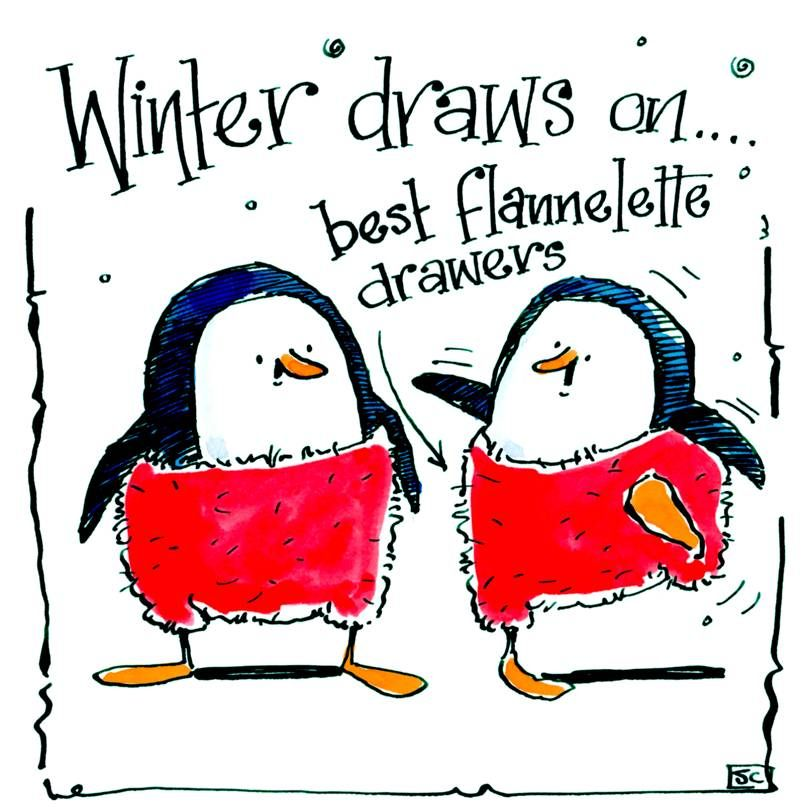 Greeting card with cartoon penguins in red pants with caption: Winter draws