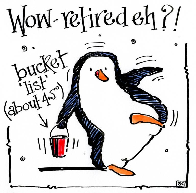 Funny Retirement card with cartoon penguin carrying a bucket with list