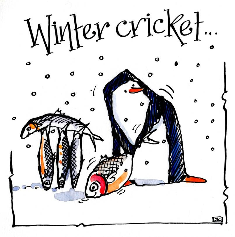 Birthday or Christmas card with cartoon penguin playing cricket with frozen