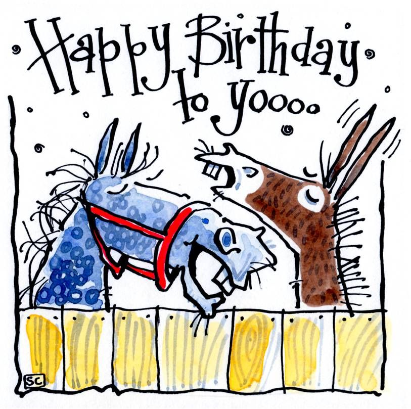 A Happy Birthday To Yoooo (from the stable). Cartoon horse and donkey singi