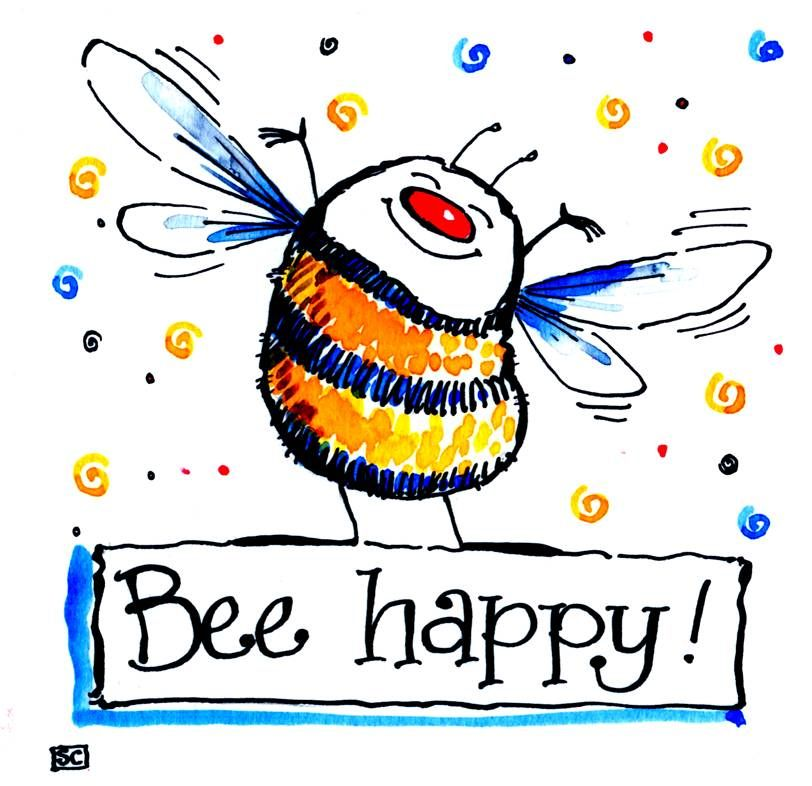 Greeting card with very happy cartoon Bee with the caption :Bee Happy!