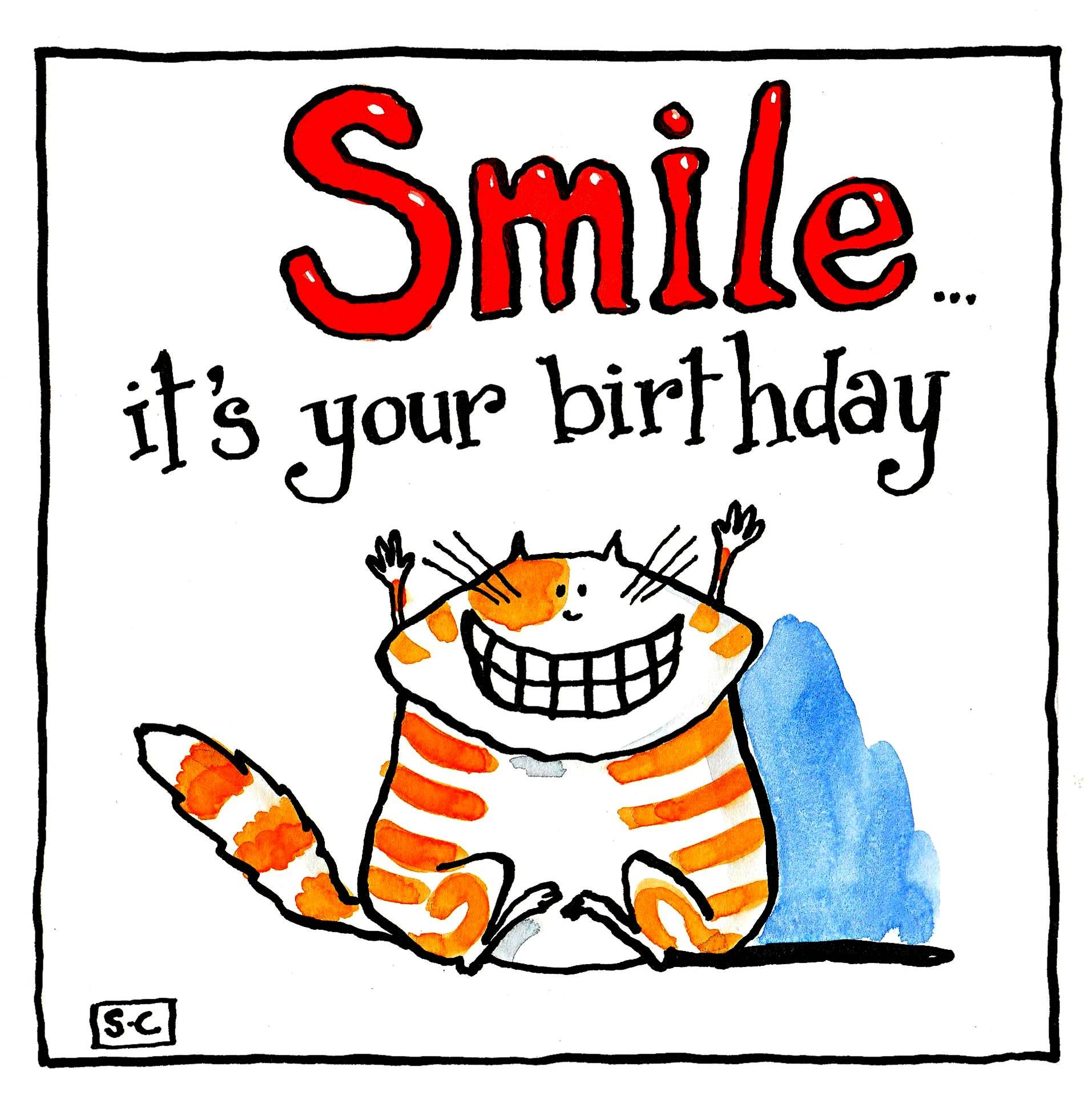 Birthday Card with cartoon cat and caption Smile It's your Birthday