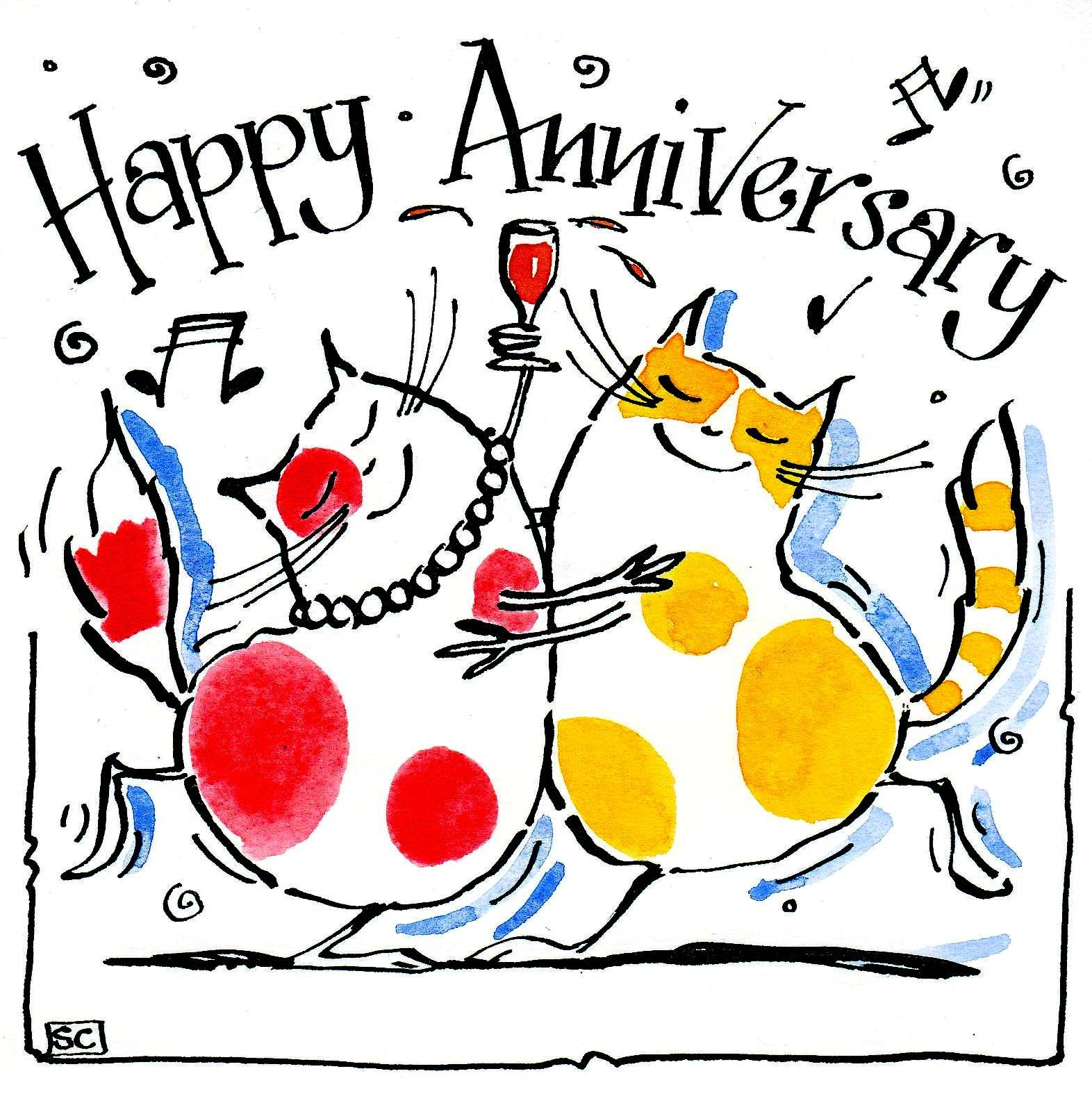 AnniversaryCard with cartoon cats dancing with caption Happy Anniversary