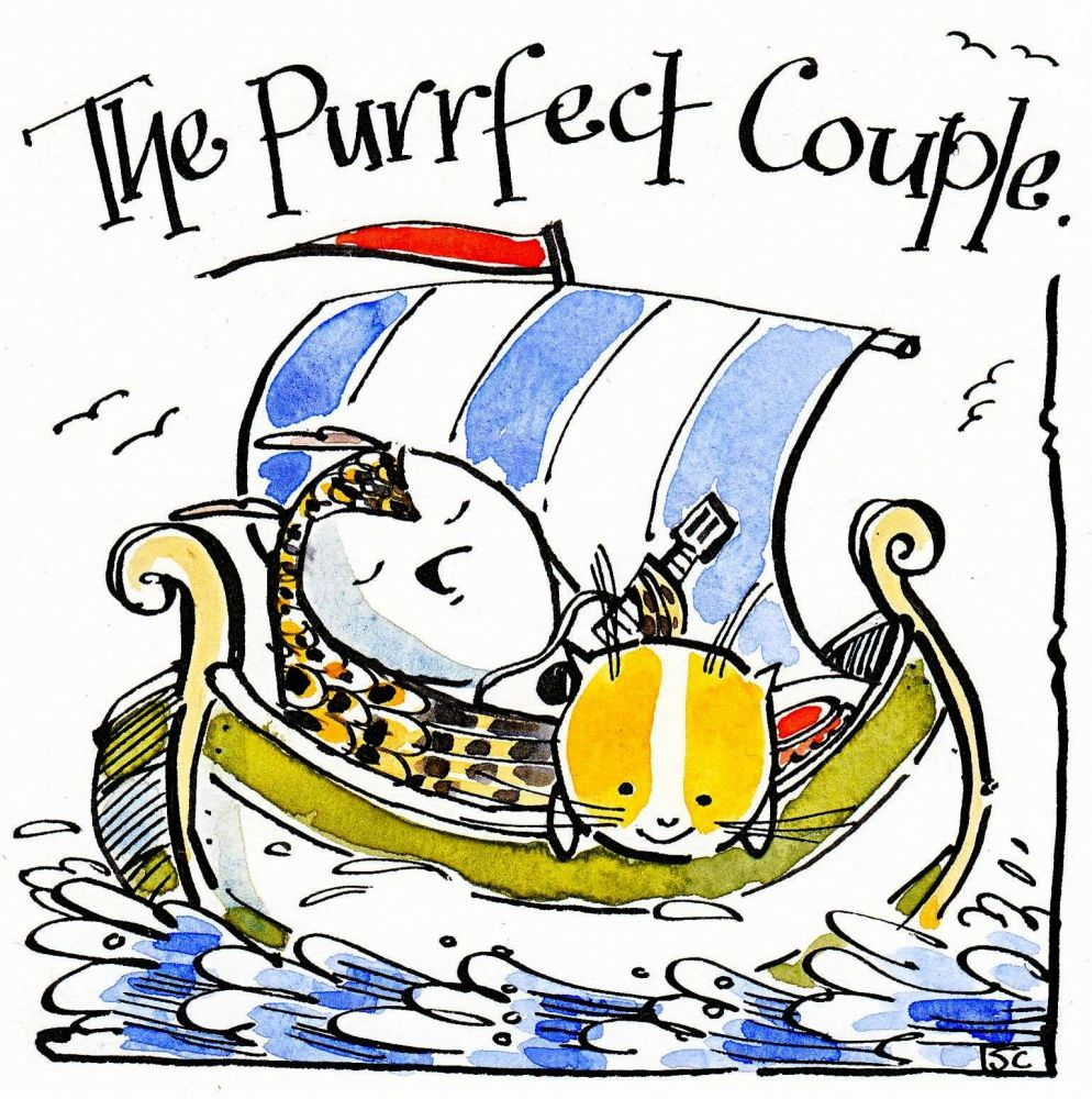 Wedding, Engagement or Anniversary with owl &pussy cat in boat with caption