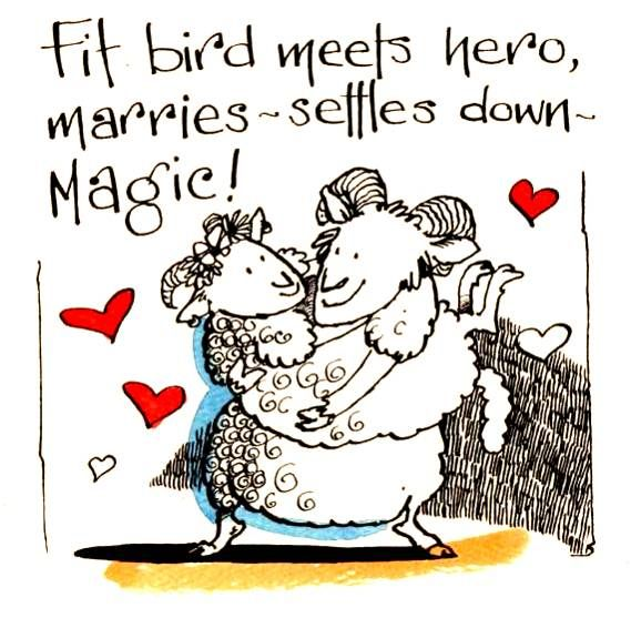 Wedding Engagement or Anniversary card with two cartoon sheep. With caption Fit Bird Meets Hero -Marries-Settles Down