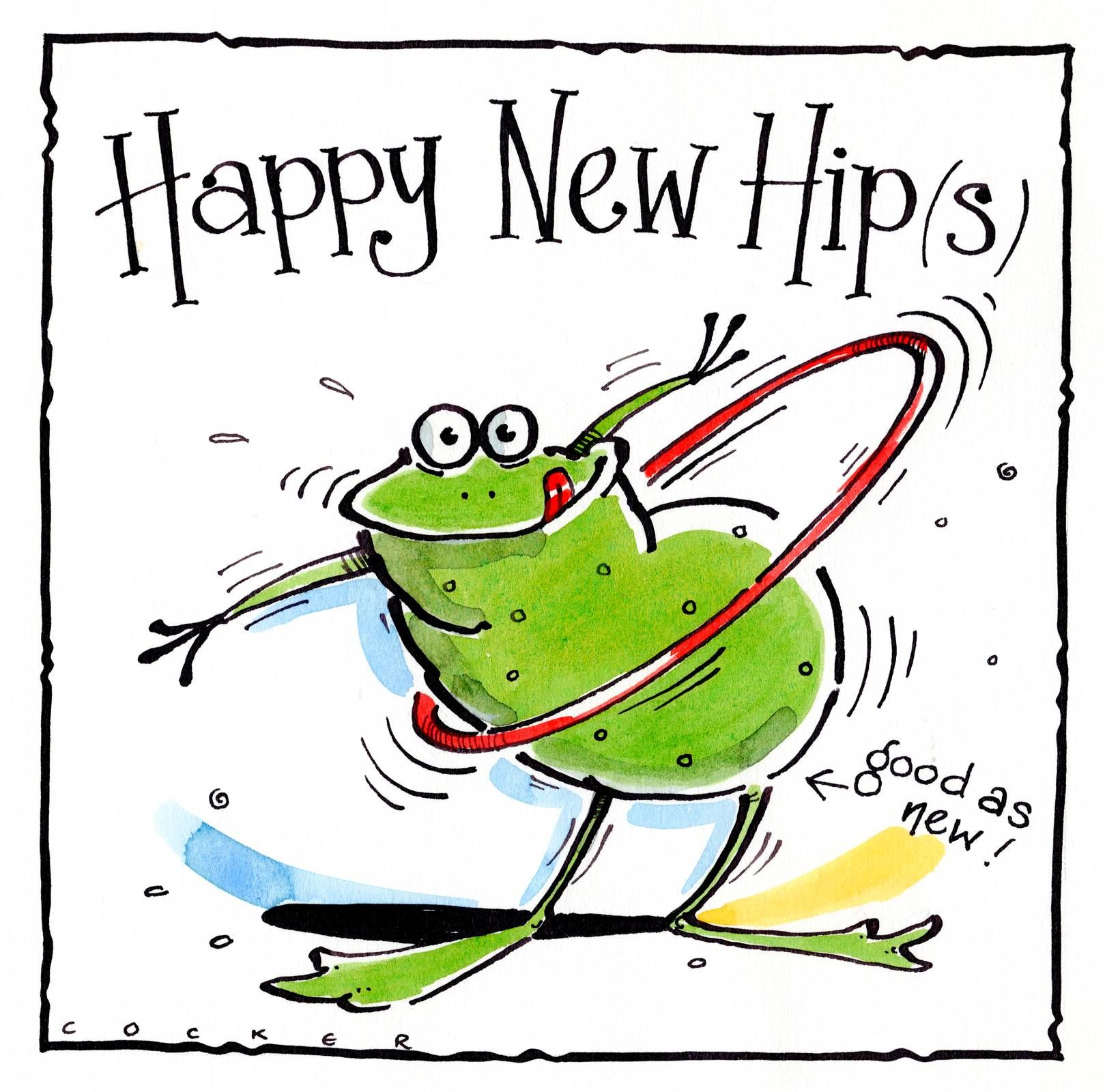 Get Well New Hips card with cartton frog and hoolah hoop
