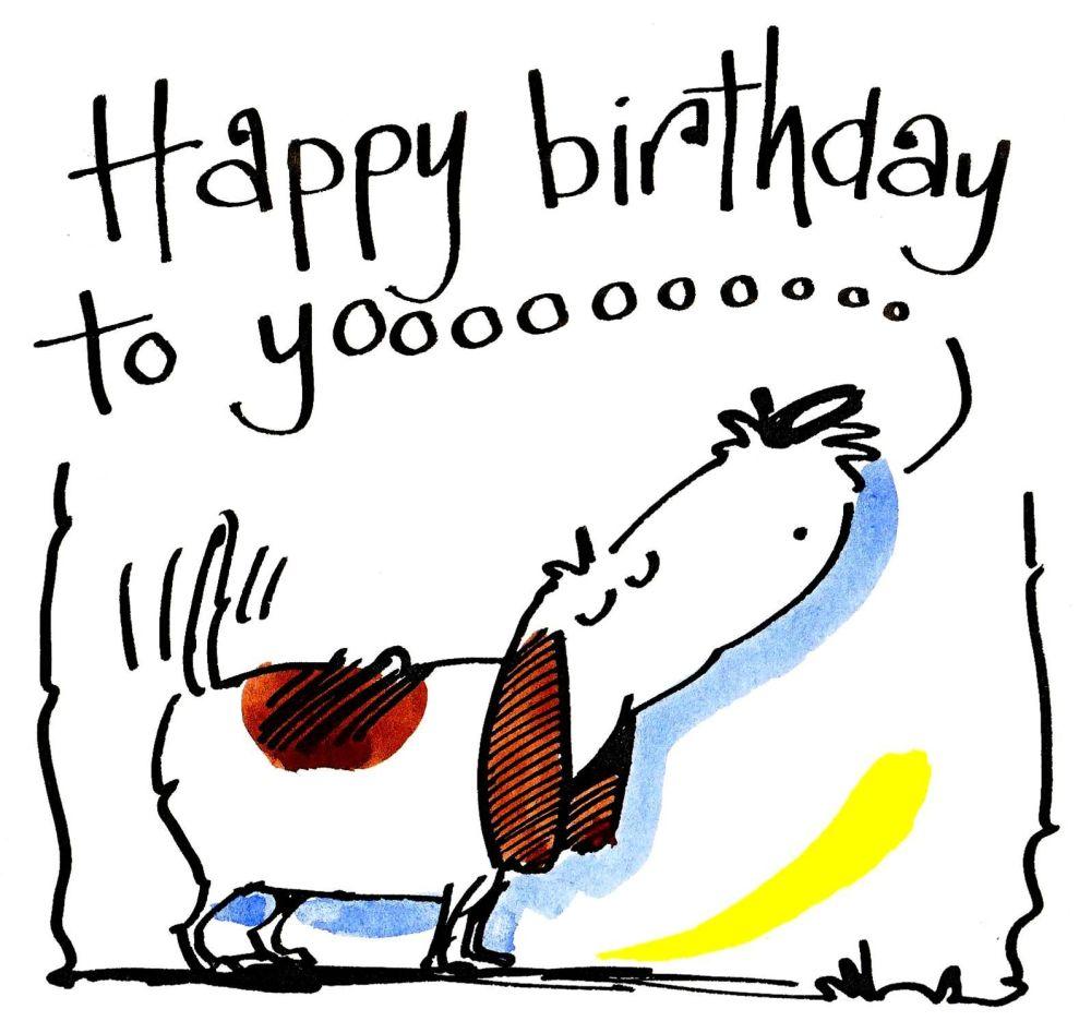 Birthday Card with cartoon dog howling: A Happy Birthday To Yooooo