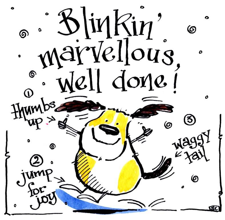 Congratulations, well done card. Cartoon dog with the caption Blinkin' Marv