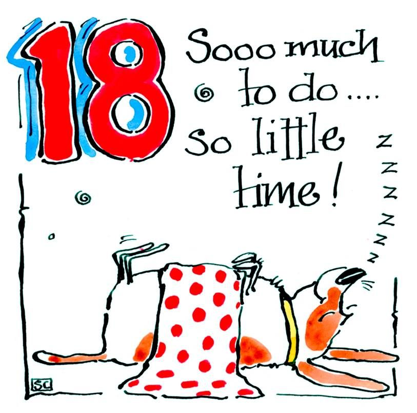18th Birthday card with cartoon sleeping dog with caption: 18 Sooo Much To
