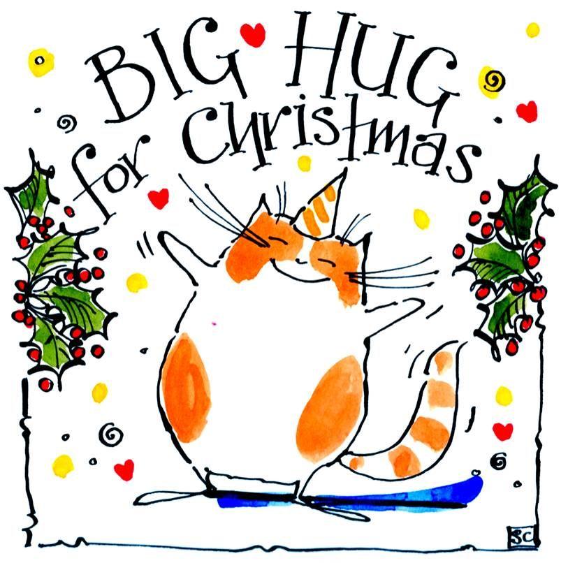Christmas card with cartoon cat with caption: A Big Hug At Christmas