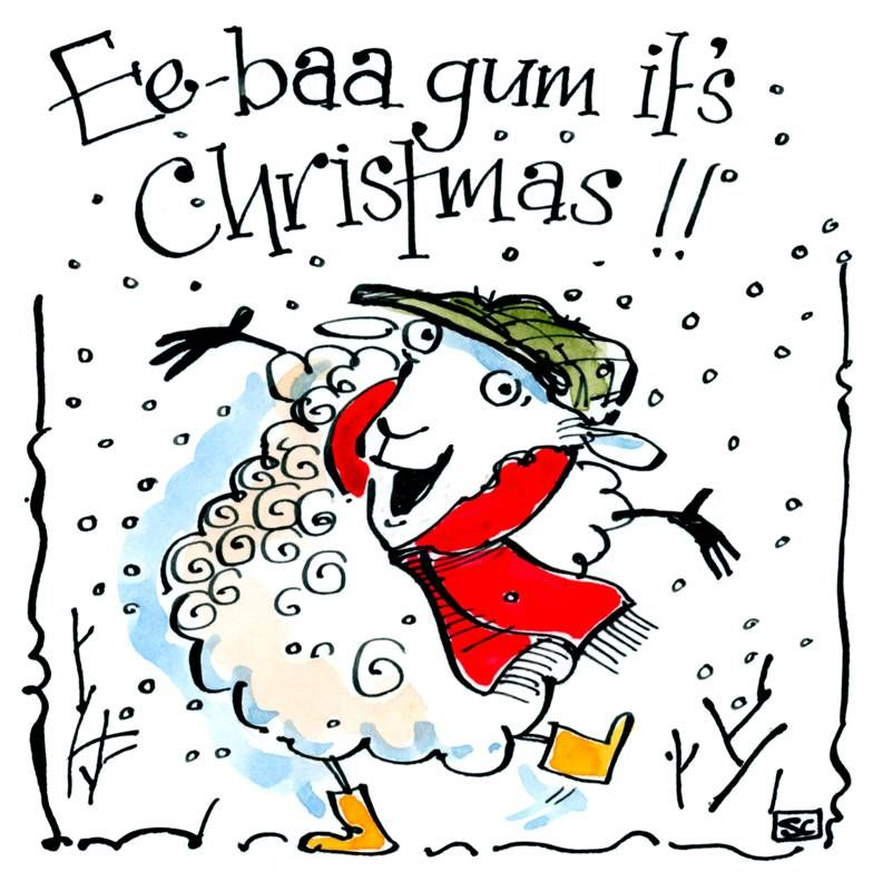 Xmas card with cartoon sheep in flat cap with caption:   Ee-Baa Gum It's Ch