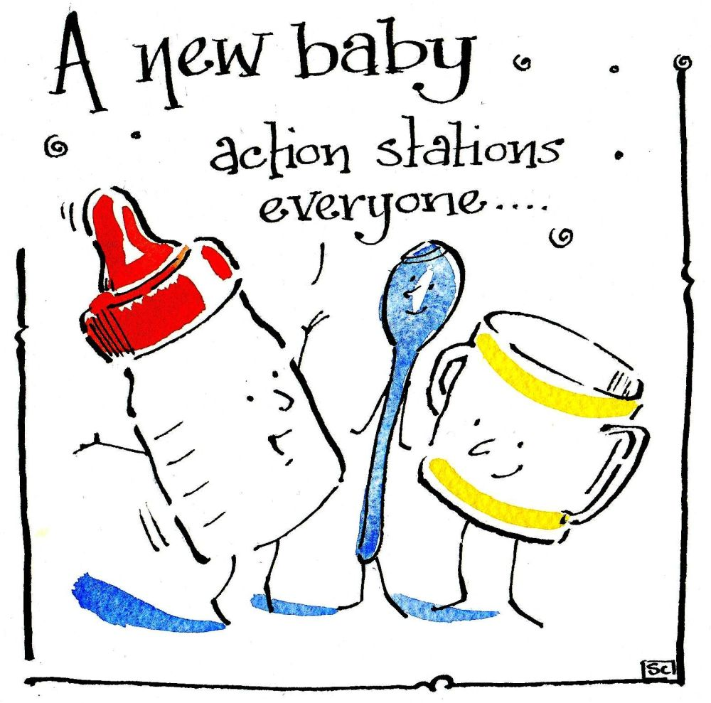 New baby card with cartoon baby's bottle and cup with the caption  New B
