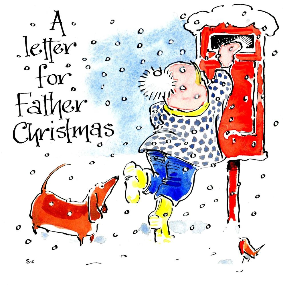 Christmas card with cartoon illustration of child and dachshund posting A L