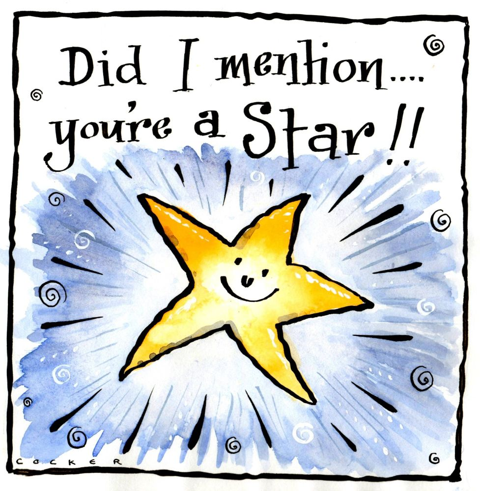 Funny Thank You or well Done card with cartoon star and caption: Did I Ment