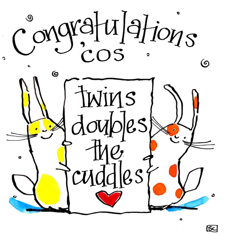 New Baby Twins card with cartoon rabbits and the caption    Congratulations