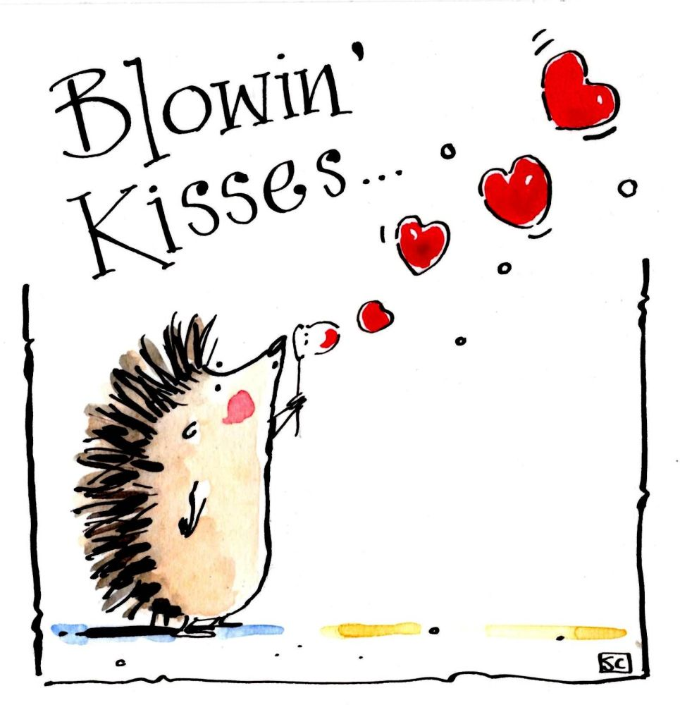 Valentine or Birthday card with hedgehog blowing heart shaped bubbles with