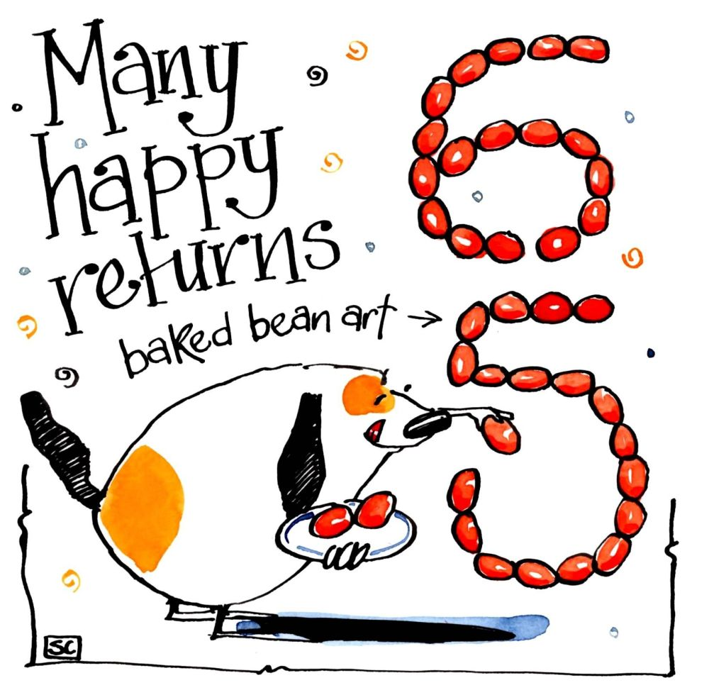 Birthday card for 65th with cartoon dog and baked bean art. Caption: Many H