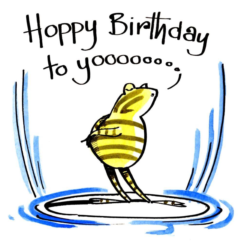 Funny Birthday Card with cartoon frog singing Hoppy Birthday To Yooo