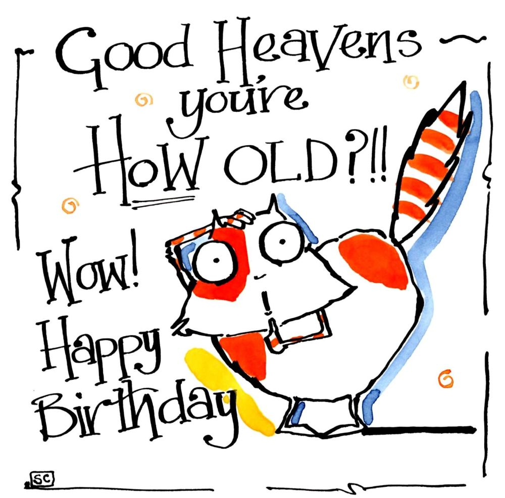 Birthday card with cartoon cat with the caption Good Heavens You're How Old